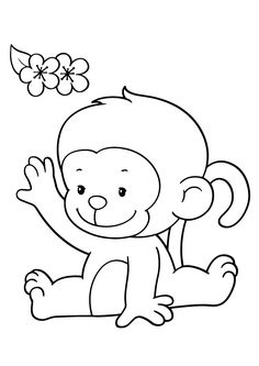 Cartoon Monkey Coloring Page 3