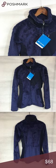 Columbia double plush sporty full zip jacket In color nightshade blue. Full zip front. Funnel neck. 2 slant pockets. Zippered chest pocket. Polyester Columbia Jackets & Coats