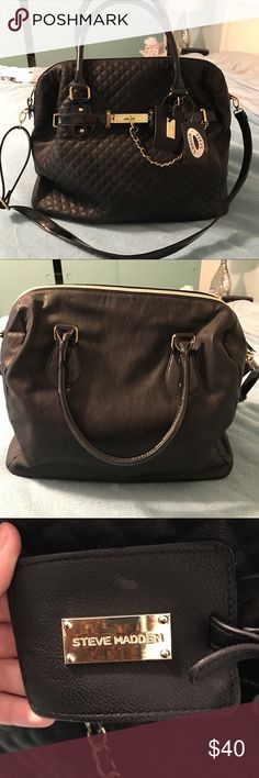 """Steve Madden """"The Weekender"""" bag with tags NWT Black, quilted, leather bag with shiny gold zipper, and decorative chain. Adjustable strap and convenient carry handles. This bag could be gifted or a perfect bag for a weekend getaway Steve Madden Bags Travel Bags"""