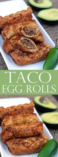 Taco Egg Rolls - Easy Appetizer More Create Perfect Melt In The Mouth Dinner Rolls Cooking with yeas Tostadas, Tacos, Tamales, Mexican Dishes, Mexican Food Recipes, Vietnamese Recipes, Spanish Dishes, Japanese Recipes, Chinese Recipes