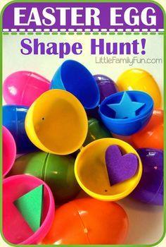 Little Family Fun: Easter Egg Shape Hunt! Easter Activities For Preschool, Easter Games For Kids, Spring Activities, Holiday Activities, Preschool Shapes, Easter Ideas, Educational Activities, Learning Activities, Kids Shapes