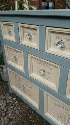 Rustic merchant chest in Annie Sloan's Duck Egg and cream with french stenciling in french linen and crystal handles, by Imperfectly Perfect xx