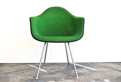 Herman Miller Upholstered Fiberglass Chair Green by charliesnest