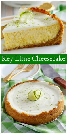 This Key Lime Cheesecake is the most delicious dessert. Its a tangy and sweet cheesecake with plenty of key lime juice. And its a pretty cheesecake for spring or summer. Köstliche Desserts, Delicious Desserts, Dessert Recipes, Lemon Desserts, Dinner Recipes, How To Make Cheesecake, Easy Cheesecake Recipes, Cheesecake Factory Key Lime Cheesecake Recipe, Cheesecake Cake