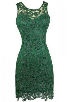 Green Lace Pencil Dress