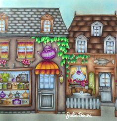 Tea Shop and Seafoof Restaurant from Romantic Country Adult Coloring Book by toothpick artist, Eriy. Colored by ?