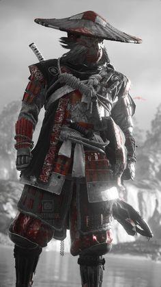 Arte Ninja, Ninja Art, Fantasy Armor, Dark Fantasy Art, Fantasy Character Design, Character Art, Futuristic Samurai, Samurai Warrior Tattoo, Samurai Tattoo