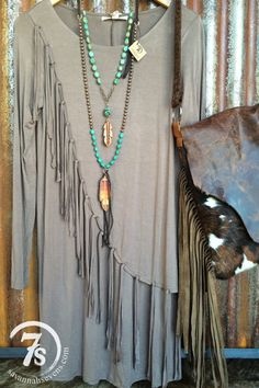 The Talco – taupe fringe dress from Savannah Sevens Western Chic