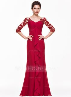 [US$ 160.49] Empire V-neck Floor-Length Chiffon Evening Dress With Appliques Lace Cascading Ruffles