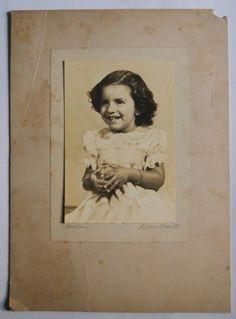 India 1940s Vintage Photo Girl with Smile mounted on cardbord #p60