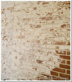 *Faux Brick–German Smear I liked this technique the best. Faux Brick Walls, Brick Paneling, Brick Fireplace, Fireplace Whitewash, Paint Paneling, Fake Brick, Fireplace Ideas, Exposed Brick, Cottage Shabby Chic
