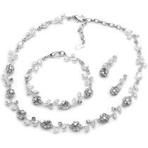 USABride Silver Floral Vine 3-Piece Necklace, Earrings & Bracelet Jewelry Set 1556 SV