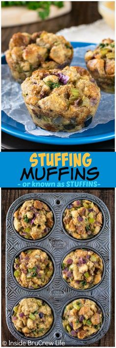 Stuffing Muffins - bake this easy stuffing recipe in a muffin tin for a fun way to change up the traditional side dish for Thanksgiving!