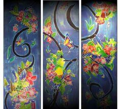 Back lit silk - batik painted with reactive dyes.