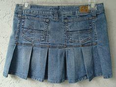 HYDRAULIC Light Blue Jean Mini Skirt Pleats Rivets in Back Low Waist Sz 11/12 Jr #HYDRAULICBlueJeanMiniSkirt #JeansMiniSkirtPleatsRivetsinBackLowWaist