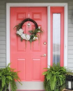 70 Beautiful Farmhouse Front Door Design Ideas And Decor. If you are looking for 70 Beautiful Farmhouse Front Door Design Ideas And Decor, You come to the right place. Coral Front Doors, Coral Door, Best Front Door Colors, Best Front Doors, Front Door Paint Colors, Painted Front Doors, Front Door Design, Front Door Decor, Paint Colours