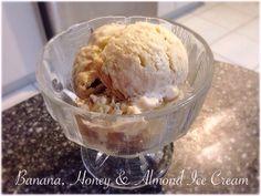 Banana, Honey & Almond Ice Cream Almond Ice Cream, Bellini Recipe, Honey Almonds, Banana, Desserts, Recipes, Food, Tailgate Desserts, Deserts