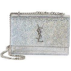 Saint Laurent Sunset Monogram Metallic Sparkle Chain Wallet ($1,550) ❤ liked on Polyvore featuring bags, wallets, apparel & accessories, silver, chain wallet, leather wallets, yves saint laurent bags, monogrammed leather wallet and leather bags