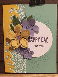 Stampin Up Botanical Blooms Happy Day Card Mint Macaron Wisteria Wonder Perfect Plum Botanical Gardens DSP Rhinestones Botanical Framelits