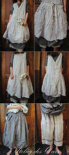 MLLE FAUSTINE : A porter devant derriere robe chasuble, jupe en popeline grise pantalon en lin EWA IWALLA