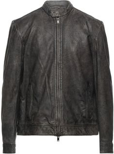 John Varvatos, Mandarin Collar, Leather Jackets, Single Breasted, Goat, Brown Leather, Cuffs, Textiles, Closure