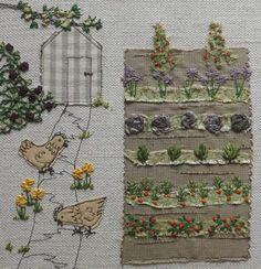 Cottage Garden by graciemay ~ Textile Artist, Stitchclub and Workshops . Freehand Machine Embroidery, Free Motion Embroidery, Free Machine Embroidery, Hand Embroidery Patterns, Embroidery Applique, Embroidery Stitches, Embroidery Designs, Fabric Cards, Fabric Postcards