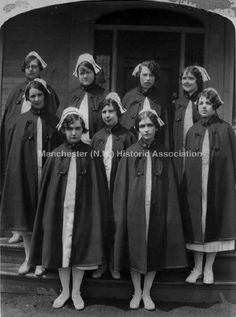 1928 photograph of nine nurses in uniform.  Taken at the Lucy Hastings Hospital School of Nurses.  (Manchester Historic Association)