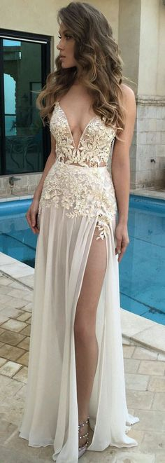 lace long prom dress,evening dress,long chiffon prom dress,lace prom dress · HerDresses · Online Store Powered by Storenvy Sexy Wedding Dresses, Elegant Dresses, Pretty Dresses, Sexy Dresses, Beautiful Dresses, Lace Wedding, Dresses 2016, Wedding Reception, Wedding Gowns
