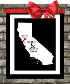 California Map Art Print ANY State Decor Personalized Wedding Gifts Custom Anniversary Gift  Personalized Engagement Gift California Print. $18.99, via Etsy.