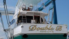 #TRANSOM: Double B, Pirates Cove North Carolina #Boat #Transom #BoatTransom  TRANSOM #TECHNIQUE: #GoldLeaf   #BOAT #BUILDER #BoatBuilder: #SpencerYachts , #NorthCarolina