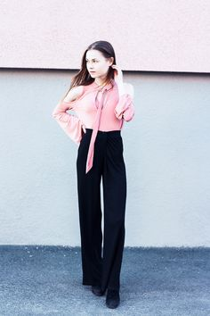 http://nouw.com/bellss  #ivyrevel #pink #shirt #spring #fashion #outfit #black #palazzo #pnts #trousers