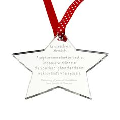 mirror acrylic memory star personalised christmas memorial decoration amazoncouk kitchen