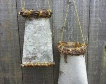 Two birch bark hanging vases
