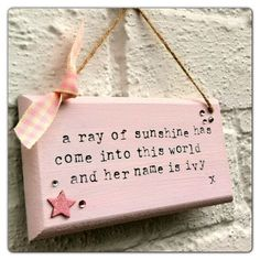 Ray of sunshine new baby quote shabby chic plaque / wall hanging