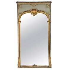 HEIGHT: 7 ft. 11 in. (241 cm)  WIDTH: 48 in. (122 cm)  DEPTH: 3 in. (8 cm)  Large 19th C. Louis XV Trumeau Style Mirror with Old Paint   From a unique collection of antique and modern trumeau mirrors at https://www.1stdibs.com/furniture/mirrors/trumeau-mirrors/