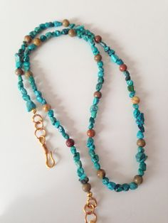 Blue+Turquoise+Necklace+OOAK+Gift+for+Her+by+ParkerRockJewelry,+$25.00