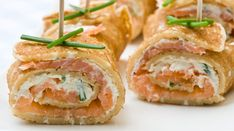Fresh Salmon Cream Cheese Canapes Chives Stock Photo (Edit Now) 18938728 Pancake Roll, Cooking Recipes, Healthy Recipes, Salmon Recipes, Healthy Baking, High Tea, Finger Foods, Mousse, Dinner Recipes