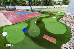 """Get Ready to Play FREE Custom Quote Course Gallery """"This is definitely a professional putting course. It's easy to maintain and all the custom features give it a visual appeal just like a rea… Golf Putting Green, Backyard Putting Green, Golf Green, Backyard Pool Landscaping, Backyard Ideas, Backyard Sports, Miniature Golf, Artificial Turf, Prep School"""