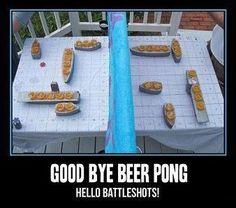 Doing it! Goodbye beer pong, hello battle shots!