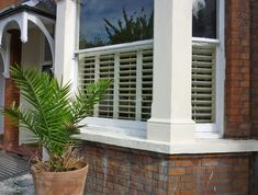 Cafe style shutters for Victorian home bay window Cafe Style Shutters, Cafe Shutters, Wooden Window Shutters, Green Shutters, Interior Window Shutters, House Shutters, Interior Windows, Bay Window Exterior, Cottage Exterior