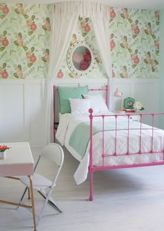 Wallpaper is from Anthropologie and is no longer available.  I wonder if I could get a similar look with stenciling?