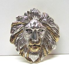 Lion Head Brooch Pin / Pendant Gold and Silver Tone / Lapel Pin / Scatter Pin / Hat Pin - Costume Jewelry - Vintage Collectible Pin by VINTAGEandMOREshop on Etsy https://www.etsy.com/listing/256664785/lion-head-brooch-pin-pendant-gold-and