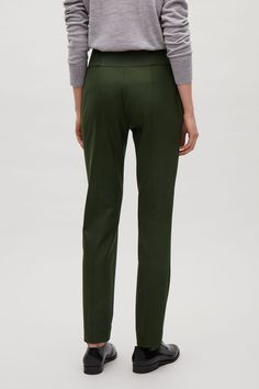 COS image 8 of Slim-fit wool trousers in Olive Green