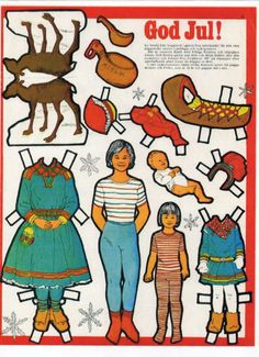 Paper Toys, Paper Crafts, Swedish Girls, Reindeer Craft, Folk Clothing, Doll Painting, Preschool Games, Vintage Paper Dolls, Retro Toys