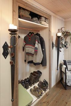 Wonderful 63 Clever Hallway Storage Ideas : 63 Clever Hallway Storage Ideas With White Walls Wooden Storage Shoes Chair Candle Hardwood Floo. Entry Closet, Front Closet, Attic Closet, Shoe Storage Small, Storage Design, Storage Ideas, Hardwood Floors, Flooring, Woman Cave