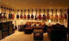 Home studio diy music man cave 66 ideas Guitar Wall, Guitar Room, Music Guitar, Acoustic Guitar, Guitar Storage, Guitar Display, Home Music Rooms, Music Studio Room, Music Man Cave