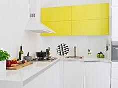 Yellow cupboards #kitchen