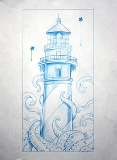 #ocean #lighthouse #octopus