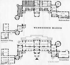 Waddesdon.  --  the present configuration of the ground floor & chamber floor (1st & 2nd floors in the USA).