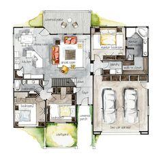 Real Estate Watercolor 2D Floor Plans Part 3 on Behance